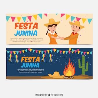 Festa, partido, bandeiras, fogueira, personagens