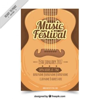 Festival de música brochura com guitarra