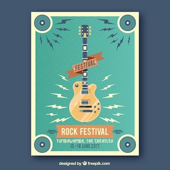 Festival folheto rocha do vintage