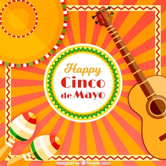 Festivo, fundo, tradicional, cinco, mayo, elementos