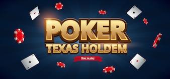 Fichas de casino, cartões e local para texto