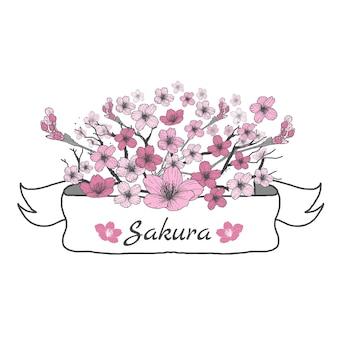 Fita de flores de Sakura. Desenho e esboço no fundo branco.