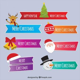 Fitas do Natal ajustadas com mensagens e personagens