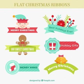 Fitas do Natal lisos com cores diferentes