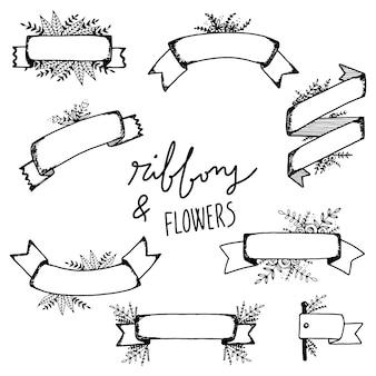 Fitas e coleção de flores