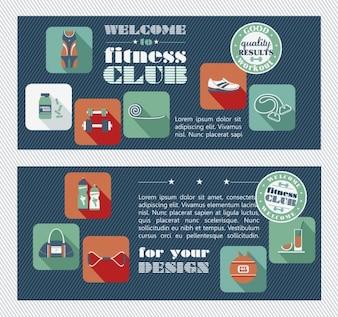 Fitness center panfleto em estilo design plano