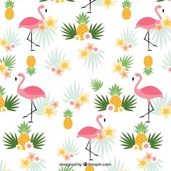 Flamingos e abacaxis padrão