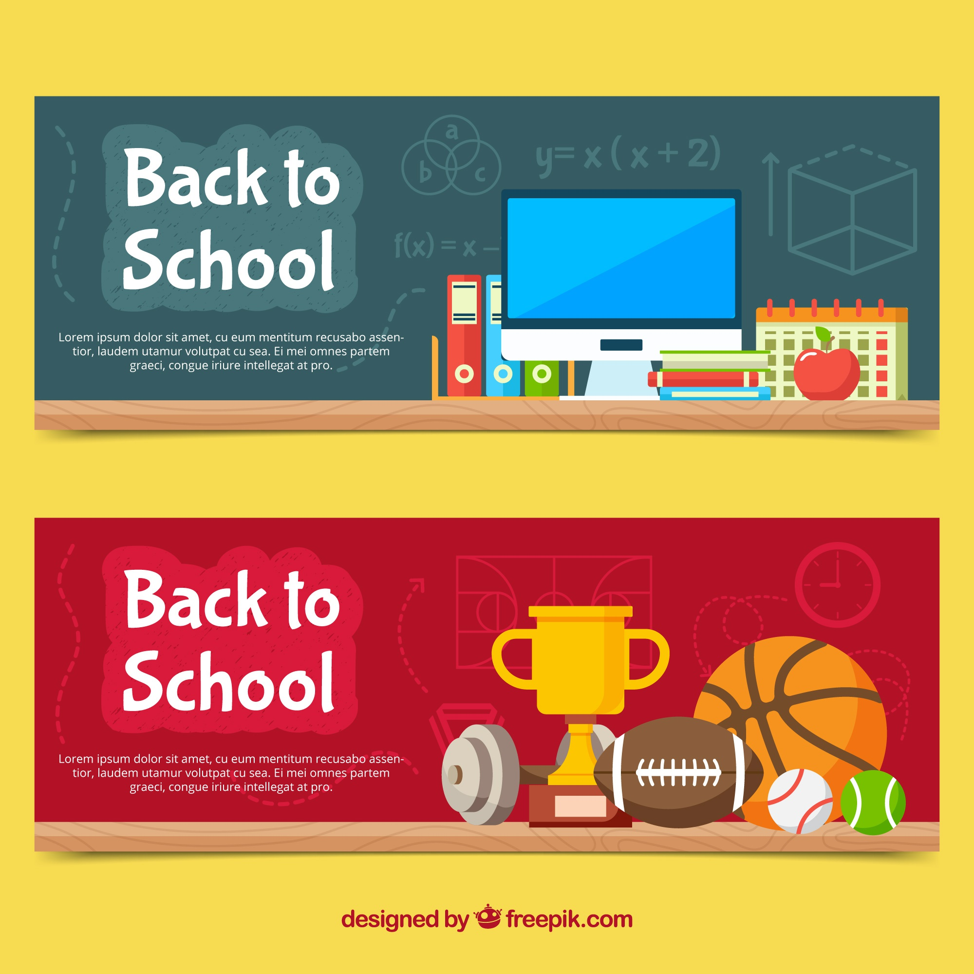 Flat back to school banners classroom and sports concept