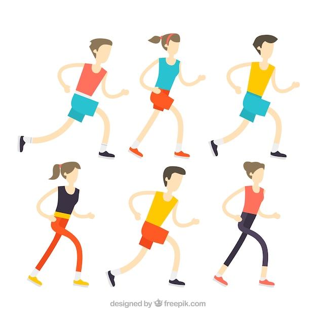 flat-colecao-de-mulheres-e-homens-corren