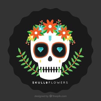 Flat crânio com diamantes e decoração floral
