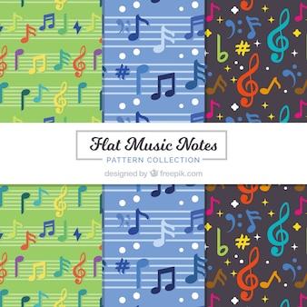 Flat música notas padrão coleção