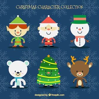 Flat pack de caracteres de decoração de natal