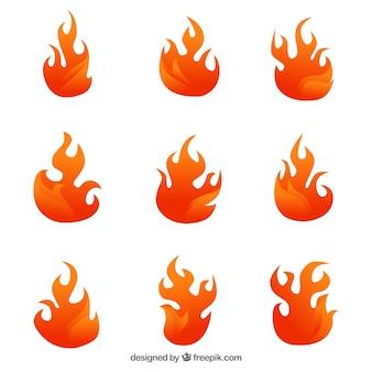Flat pack de chamas em tons de laranja