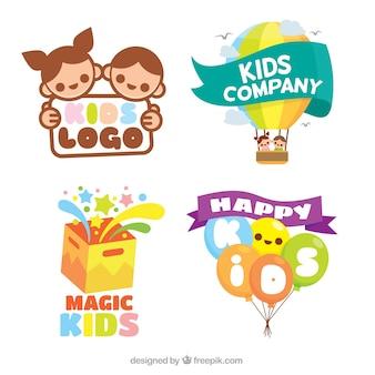 Flat pack de colorido crianças logos