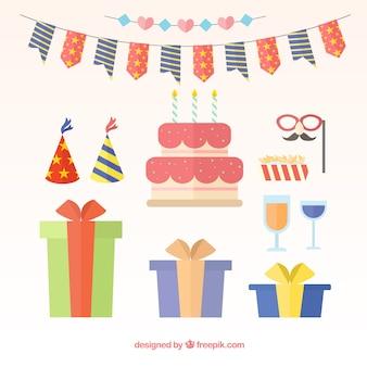 Flat pack de objetos de aniversário