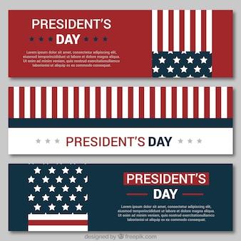 Flat pack de três bandeiras para o dia do presidente
