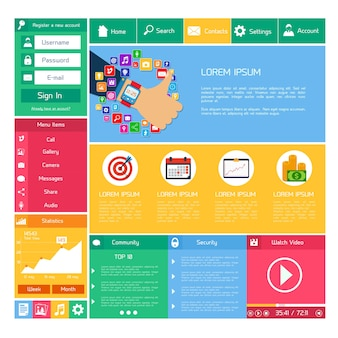 Flat website design template internet e aplicações layout elements vector illustration