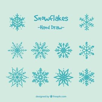 Flocos de neve bonito desenhado mão