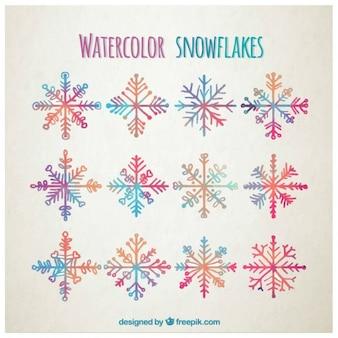 Flocos de neve coloridos aquarela