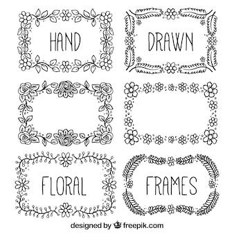 Florais desenhados mão Frames pretos