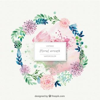 Flores da aguarela com folhas grinalda ornamento
