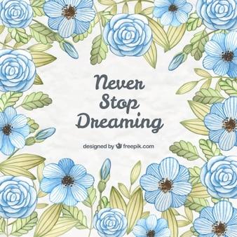Flores desenhadas mão azuis com frase bonito