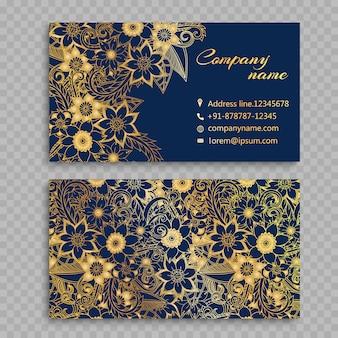 Flores douradas no fundo azul cartão de visita