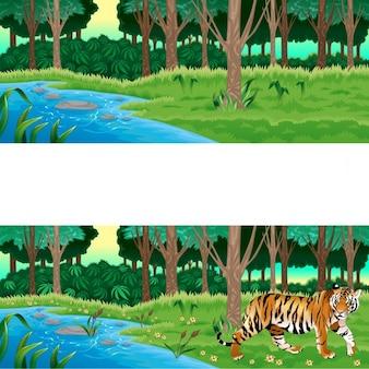 Floresta verde com e sem a ilustração dos desenhos animados do vetor do tigre