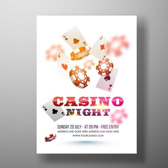 Flyer da Noite do Casino, modelo ou design do banner.