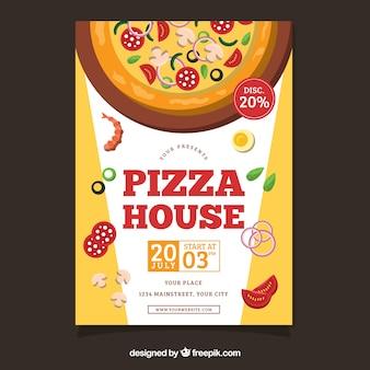 Flyer de ingredientes de pizza