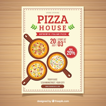 Flyer de oferta de pizza de design plano