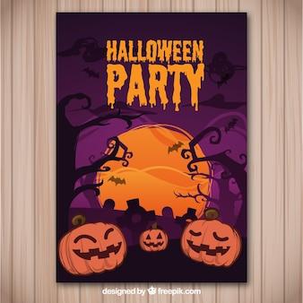 Flyer para uma festa do dia das bruxas em tons roxos