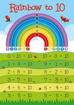 Folha de cálculo de adição com arco-íris em segundo plano