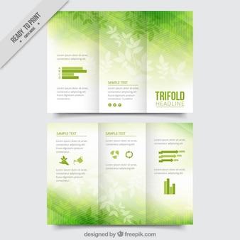 Folhas com três dobras verde
