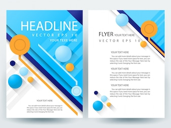 Folheto A4 azul Modelo de layout com elemento circular