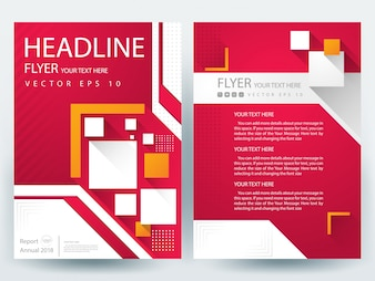 Folheto A4 Modelo de layout com quadrado vermelho e laranja