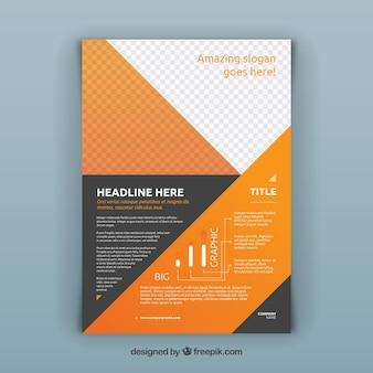 Folheto abstrato corporativo cinza e laranja