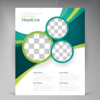 Folheto abstrato do projeto do modelo do vetor, tampa com listras multicamadas de turquesa e verdes
