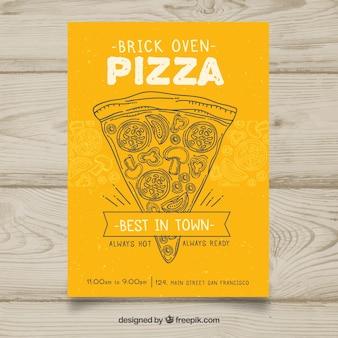 Folheto amarelo com esboço de pizza