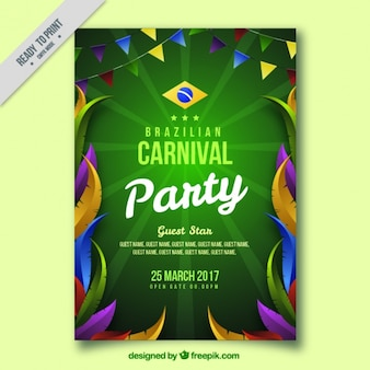 Folheto carnaval brasileiro com penas coloridas e guirlandas
