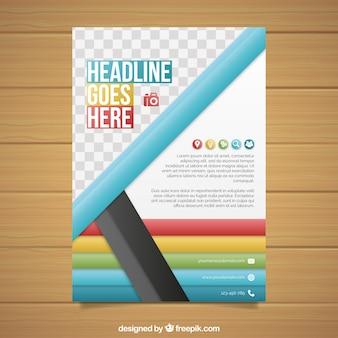 Folheto colorido com estilo abstrato