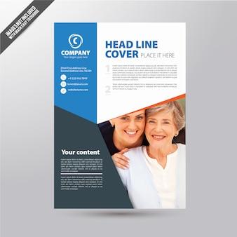 Folheto comercial branco com detalhes azuis