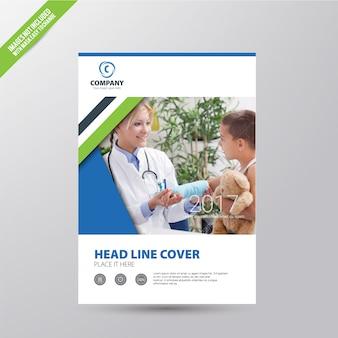 Folheto comercial branco com detalhes multicoloridos