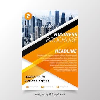 Folheto comercial com eometria elegante