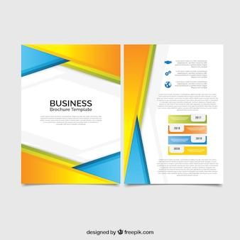 Folheto comercial com formas coloridas abstratas
