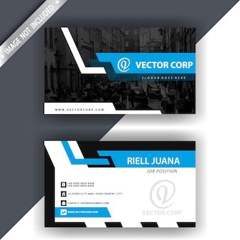 Folheto comercial elegante e azul e branco
