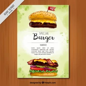 Folheto da aguarela de hambúrguer especial