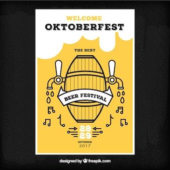 Folheto da Oktoberfest com barril de cerveja