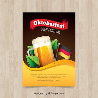 Folheto de cerveja com bandeira alemã