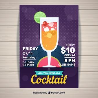 Folheto de cocktail elegante em design plano
